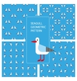 Set of seamless textures with geometric seagulls vector image vector image