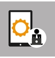 silhouette programmer working laptop cellphone vector image