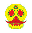skull with mustache the day of the death mexican vector image vector image