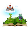 story book with magic beanstalk castle in the clo vector image