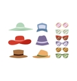 Summer hats and sunglasses set vector image