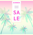 summer sale banner with tropical colored vector image vector image