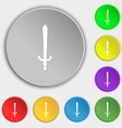 sword icon sign Symbol on five flat buttons vector image