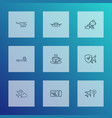 transportation icons line style set with travel vector image vector image