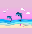 two jumping dolphins in the sea in paper cut style vector image
