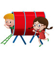 two kids playing in the tube vector image vector image