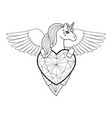 unicorn with heart and wings outline vector image