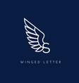 winged letter vector image vector image