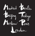 world capitals lettering vector image vector image