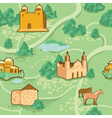 seamless pattern with map and houses vector image