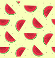 seamless pattern with sliced watermelon with seeds vector image