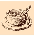 Cup of cacao hand drawn sketch vector image