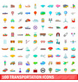 100 transportation icons set cartoon style vector image vector image