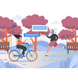 active people in city park flat vector image