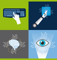 artificial intelligence icons set technology vector image vector image