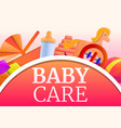 baby care concept banner cartoon style vector image vector image