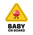 baby on board caution car sticker or child vector image vector image