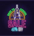back to school sale neon design or emblem vector image vector image