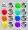 badge mockup set pin brooch button blank vector image vector image