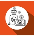 bag money orange background isolated icon design vector image vector image