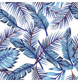 blue exotic leaves seamless white background vector image