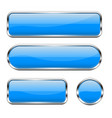blue glass buttons set 3d shiny icons vector image vector image