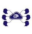 brain in head cloud connection server vector image vector image