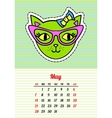 Calendar 2017 with cats May In cartoon 80s-90s vector image vector image