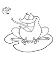 Cartoon frog on lily pad vector image vector image