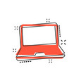 cartoon laptop computer icon in comic style vector image vector image