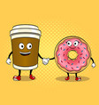 coffee cup and donut pop art vector image vector image