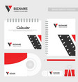 company calender and diary design with video logo vector image vector image