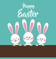 cute bunnies happy easter vector image vector image