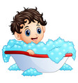 cute little boy taking a bath on a white backgroun vector image