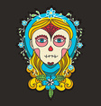 Day of dead skull girl with marigold vector image vector image