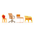 different chair collection isolated set on white vector image