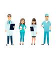 doctors and nurses team cartoon medical staff vector image vector image