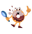 donut with magnifying glass on white background vector image vector image