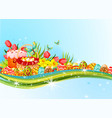 easter egg and flower banner with copy space vector image
