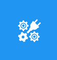 electric plug with gears cogwheels icon vector image