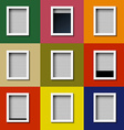 Facade with windows and colored wall vector image