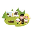 Family camping outdoors vector image vector image