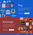 flat theatre icons web banner vector image vector image