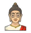 four eyes buddha sketch engraving vector image