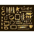 Gold design elements set Brush strokes and vector image vector image