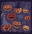halloween of cute pumpkins in boho style vector image