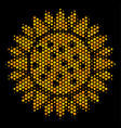 hexagon halftone sunflower icon vector image vector image