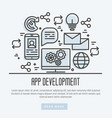 Icons of mobile app development process thin line