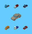 isometric automobile set of truck freight suv vector image vector image