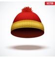 Knitted woolen cap Winter seasonal colorful hat vector image vector image